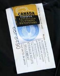 canada goose genuine tags